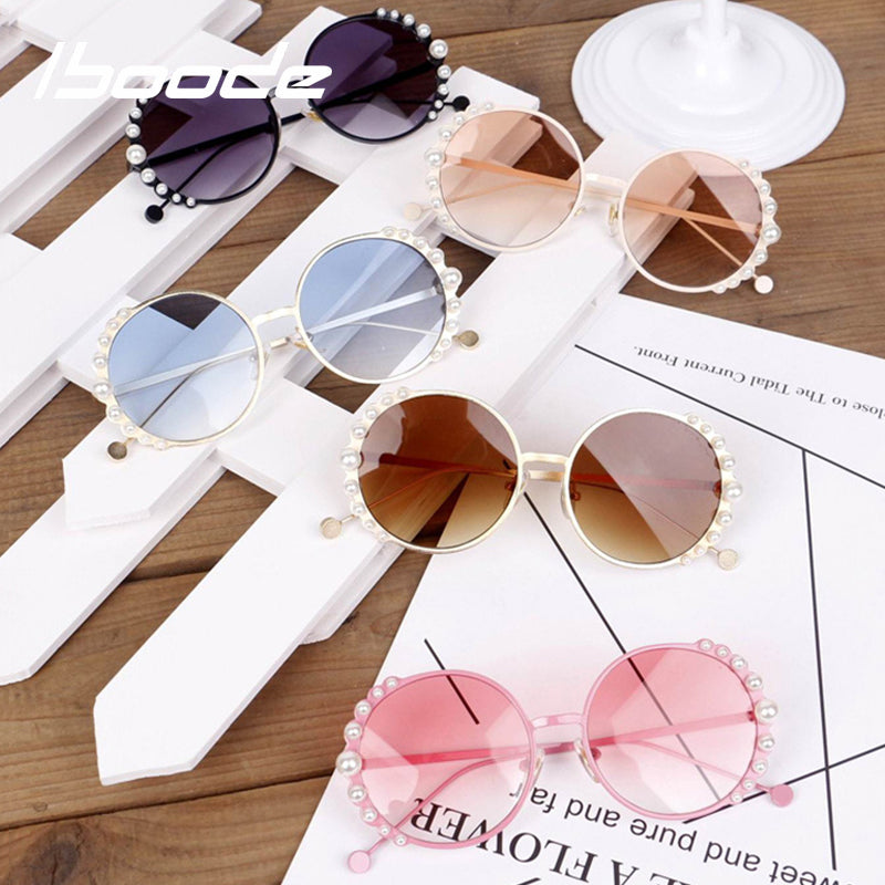 iboode 2019 Kids Sunglasses Baby Girls Pearl Sunglasses Luxury Metal Round Sunglasses UV Protection Princess Shades Girl Gifts