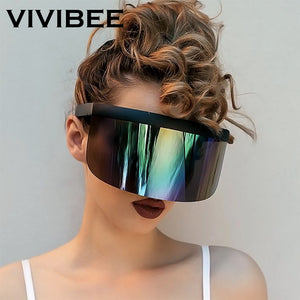 VIVIVBEE Nicki Minaj Women Visor Sunglasses 2019 Trending Product Mirror Fun Sun Glasses UV400 Fashion Shades