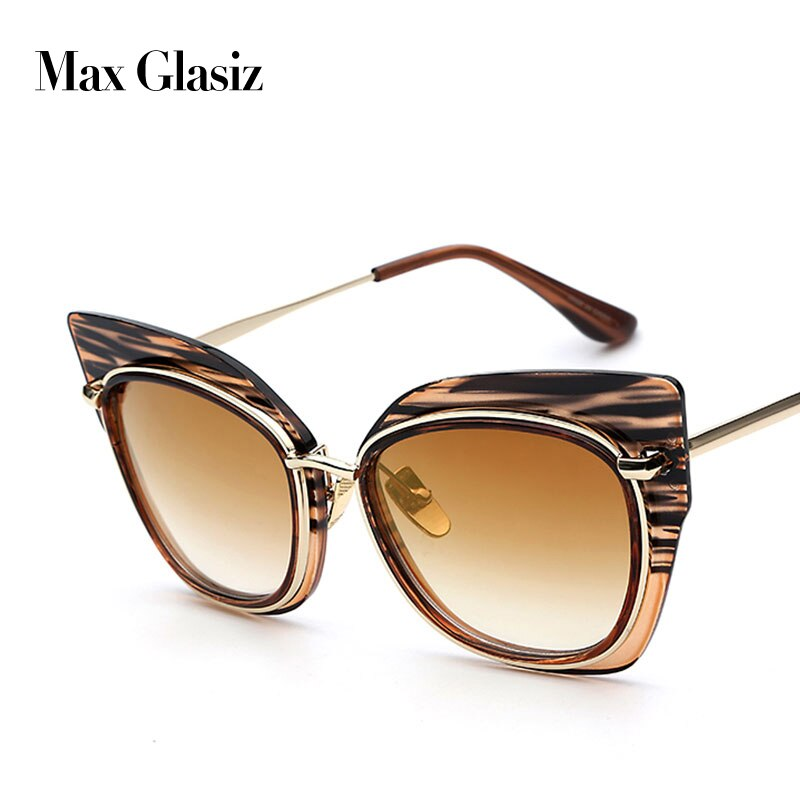 Maxglasiz Women Oversized Vintage Stripes Designer Sun Glasses For Ladies New Fashion Cat-Eye Sunglasses Retro Brand UV400 Gafas