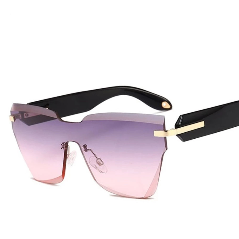 Rimless Square Retro Sunglasses Fashion Gradient Lense Sunglasses
