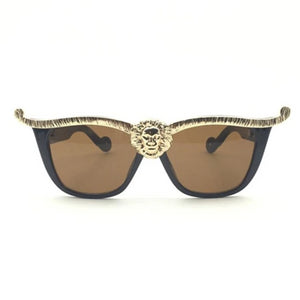 Oversized Cat Eye Sunglasses gold embellished Women Brand Designer Head Luxury Sun Glasses For Womens Gold Retro Woman Shades