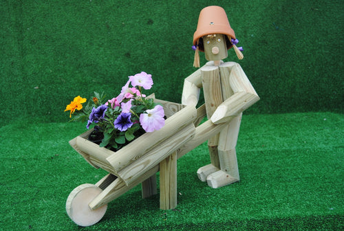 Boy or Girl gardener pushing a wheelbarrow.