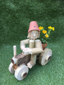 small wooden tractor