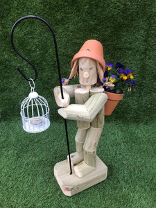 Standing Girl or Boy  with Crook & lantern - white