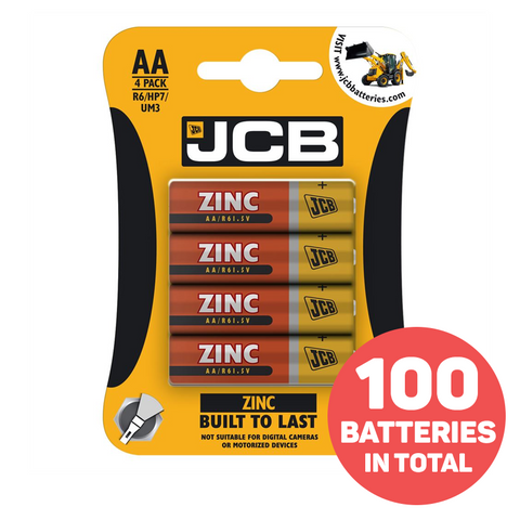 25 Packs of JCB Heavy Duty AA Batteries - 100 Batteries!