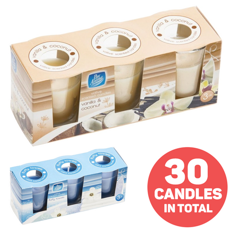 10 x Pack of 3 Aroma Votive Scented Candles in Glass Jars