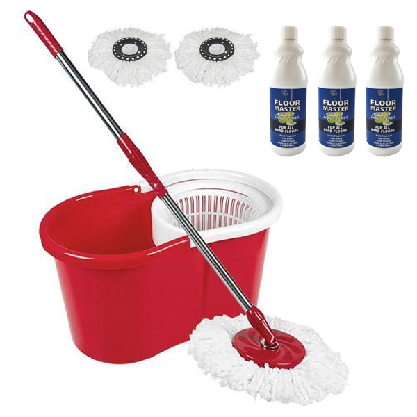 Ultimate Spin Mop & Bucket with 2 Spare Heads + 3 FREE Bottles of Floor Master Liquid Power™