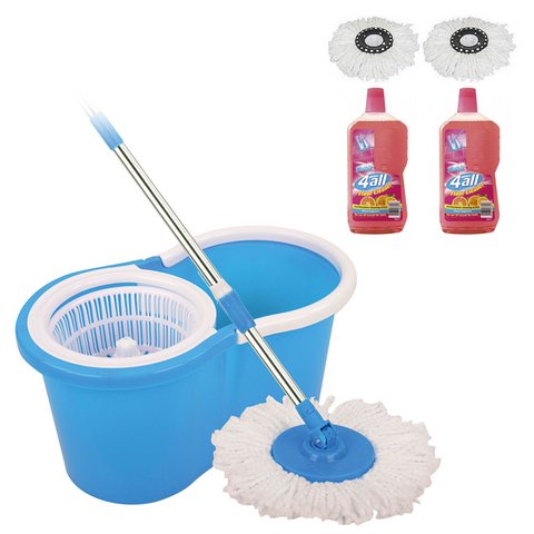 Ultimate Spin Mop & Bucket + 2 Spare Heads + 2 Bottles of 1L Floor Cleaner