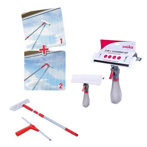 1.3m Telescopic Window Cleaning Kit with Microfibre & Wiper Blade Heads + 2 FREE Spay Bottle