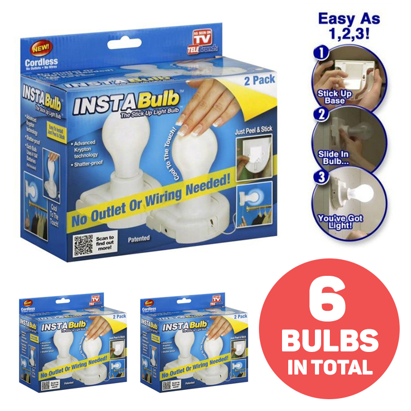 Pack of 2 InstaBulb Battery Operated Peel & Stick Light Bulbs - Buy One Get Two Free