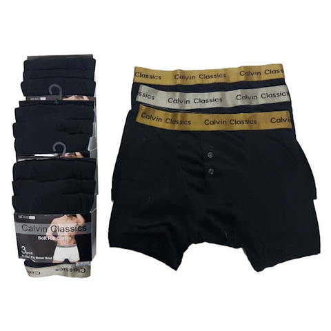 6 Pairs of Men's Calvin Classic Boxer Shorts with Gold & Silver Waistband - Buy One Get One Free