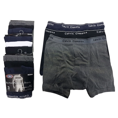 6 Pairs of Men's Calvino Classic Boxer Shorts with Classic Waistband - Buy One Get One Free