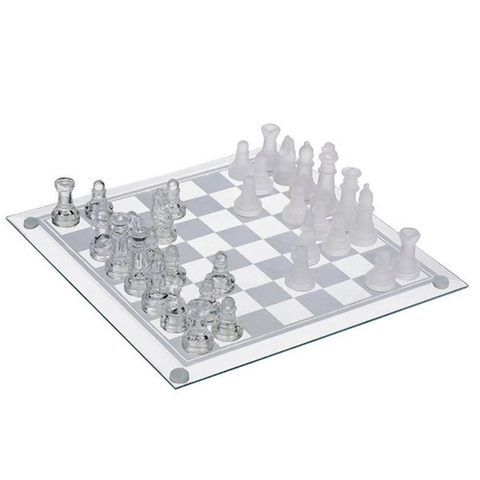 2 in 1 Chess & Draughts Set with Glass Board - Free P&P