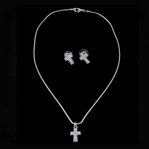 Venetti Diamante Cross Pendant & Earring Set