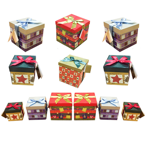 Set Of 6 Christmas Nested Oblong Gift Boxes - Buy One Get One Free
