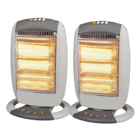 1200W Oscillating Halogen Heater with 3 Heat Settings - Buy One Get One Free
