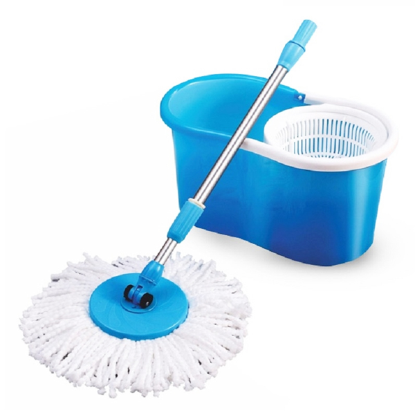 360° Spin Mop & Bucket with Microfiber Cleaning Head + Free Spare Head