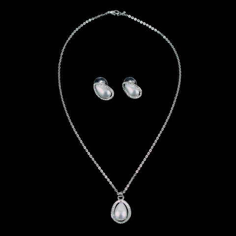 Venetti Diamante & Pearl Effect Pendant & Earring Set