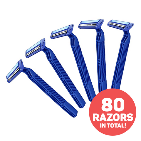 Set of 40 Double Blade Disposable Razors with Lubrication Strip - Buy One Get One Free
