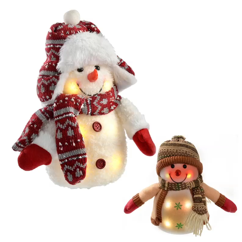 Pair of 25cm Pre-Lit LED Snowmen in Knitted Outfit with Colour Changing Lights