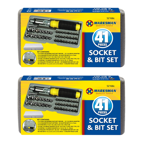 41pc Socket & Bit Set with 3 Way Ratchet Driver - Buy One Get One Free