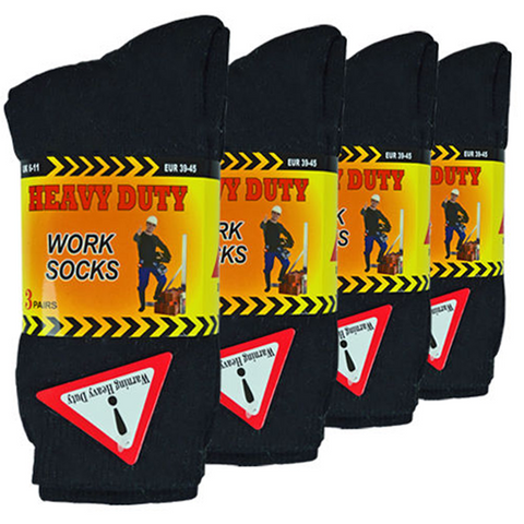 6 Pairs of Black Heavy Duty Work Socks - Buy One Get One Free