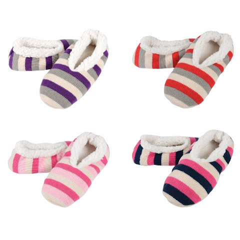 Knitted Snug Slippers with Super Soft Sherpa Lining - Buy One Get One Free