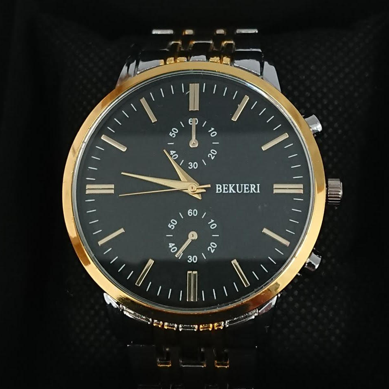 Bekueri Men's Luxury Gold Tone Watch with Black Face