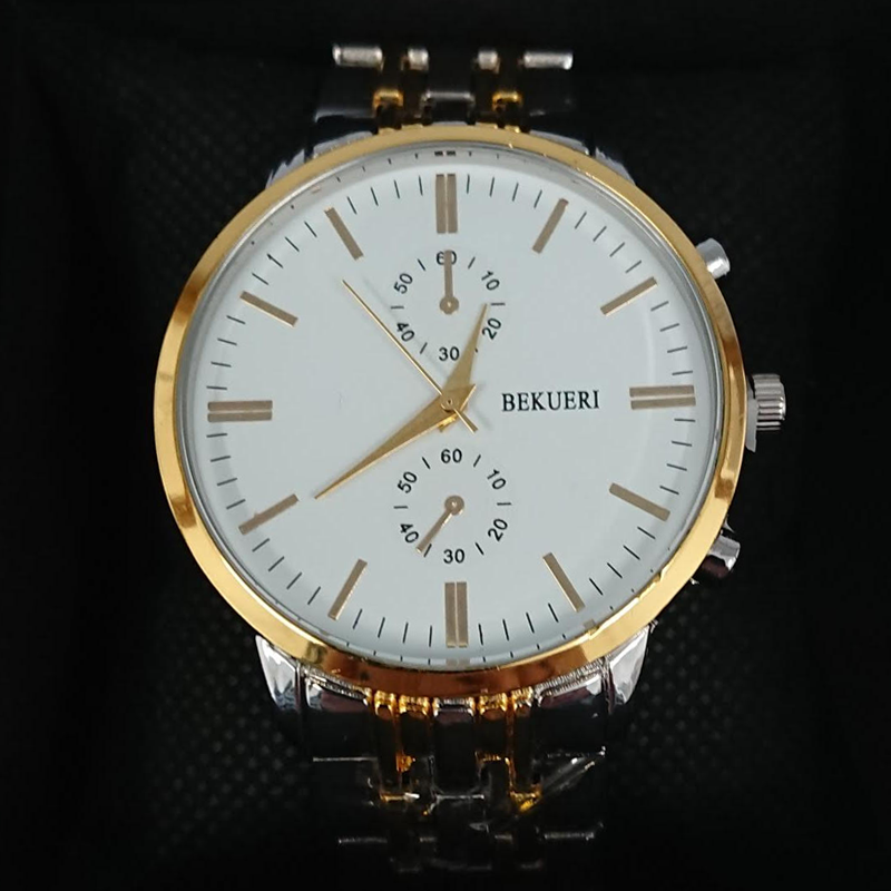 Bekueri Men's Luxury Gold Tone Watch with White Face