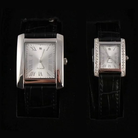 His & Hers Identity London Diamond Strap Watch Set