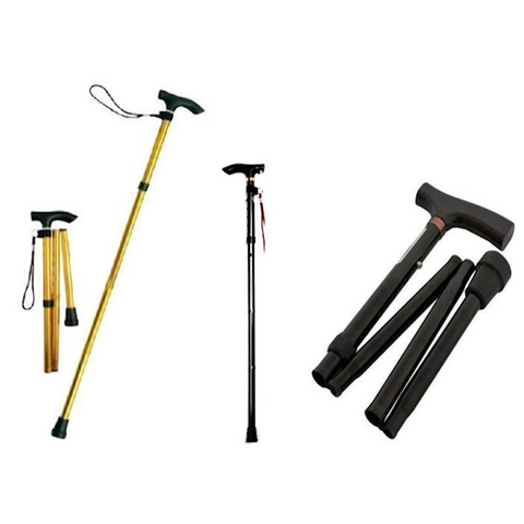 Adjustable Aluminum Folding Walking Stick with Contour Grip - Buy One Get One Free