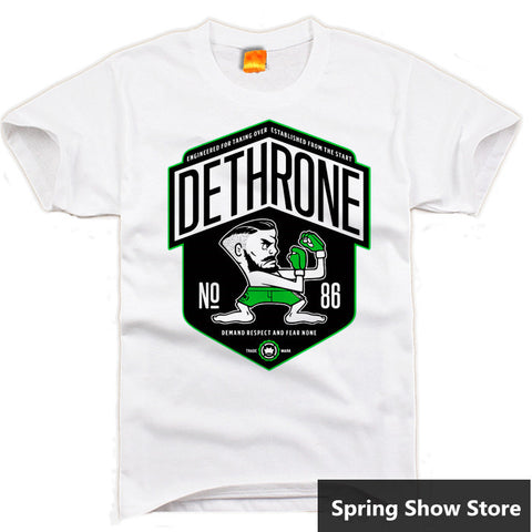 Dethrone UFC Conor McGregor Cosplay Tee Anime Short Sleeve Gray/White T-shirt