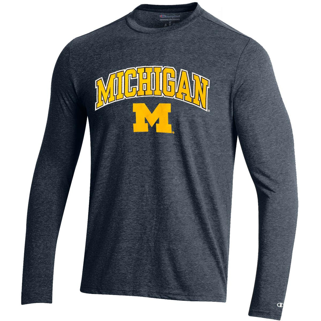 Champion NCAA Men's Michigan Wolverines Field Day Heathered Long Sleeve Shirt