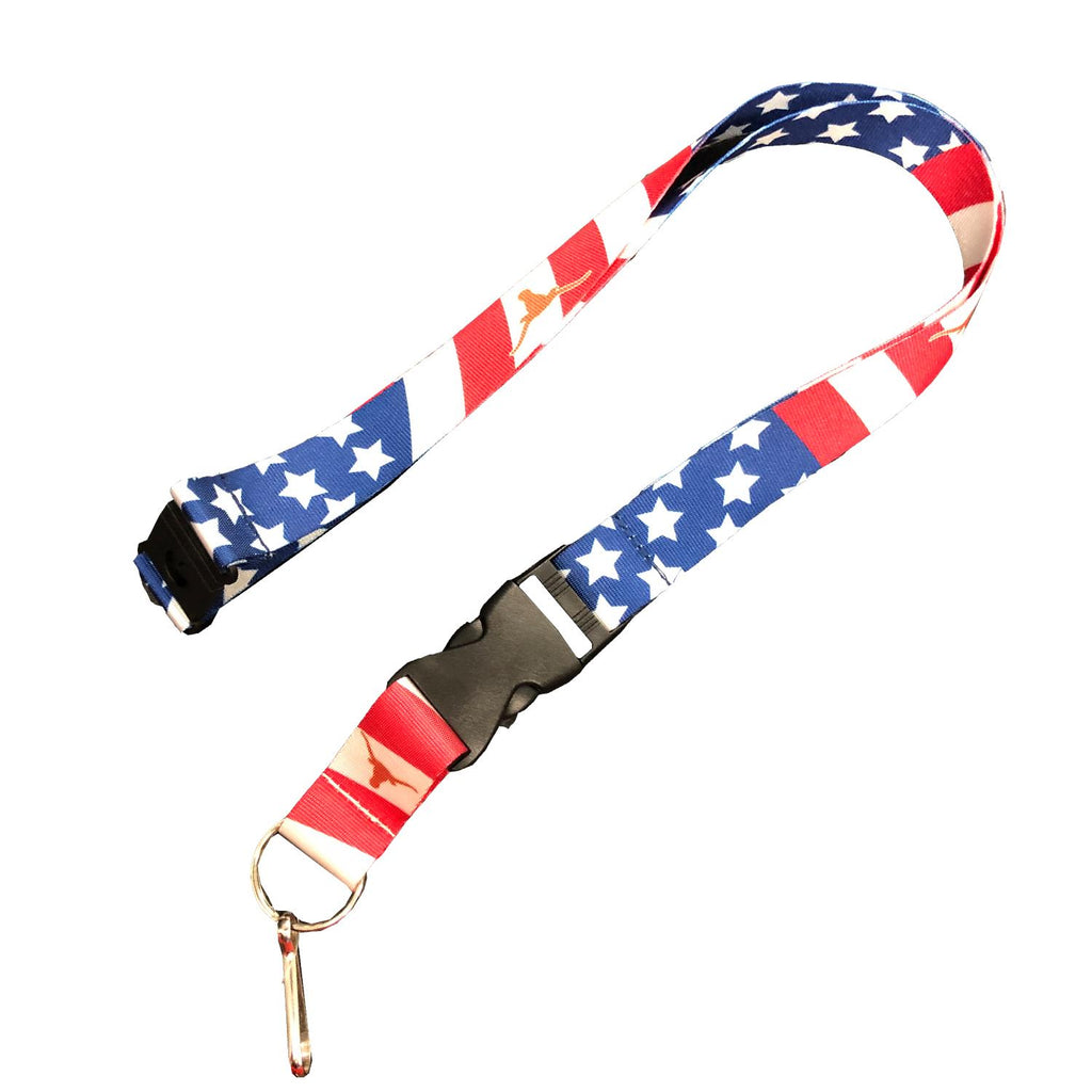 Aminco NCAA Texas Longhorns Stars and Stripes Breakaway Lanyard