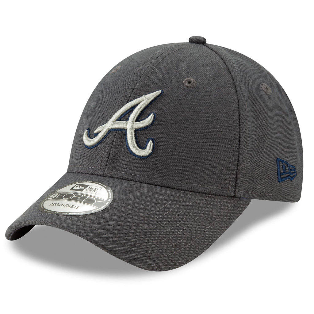 New Era MLB Men's Atlanta Braves The League Graphite 9FORTY Adjustable Hat Graphite One Size