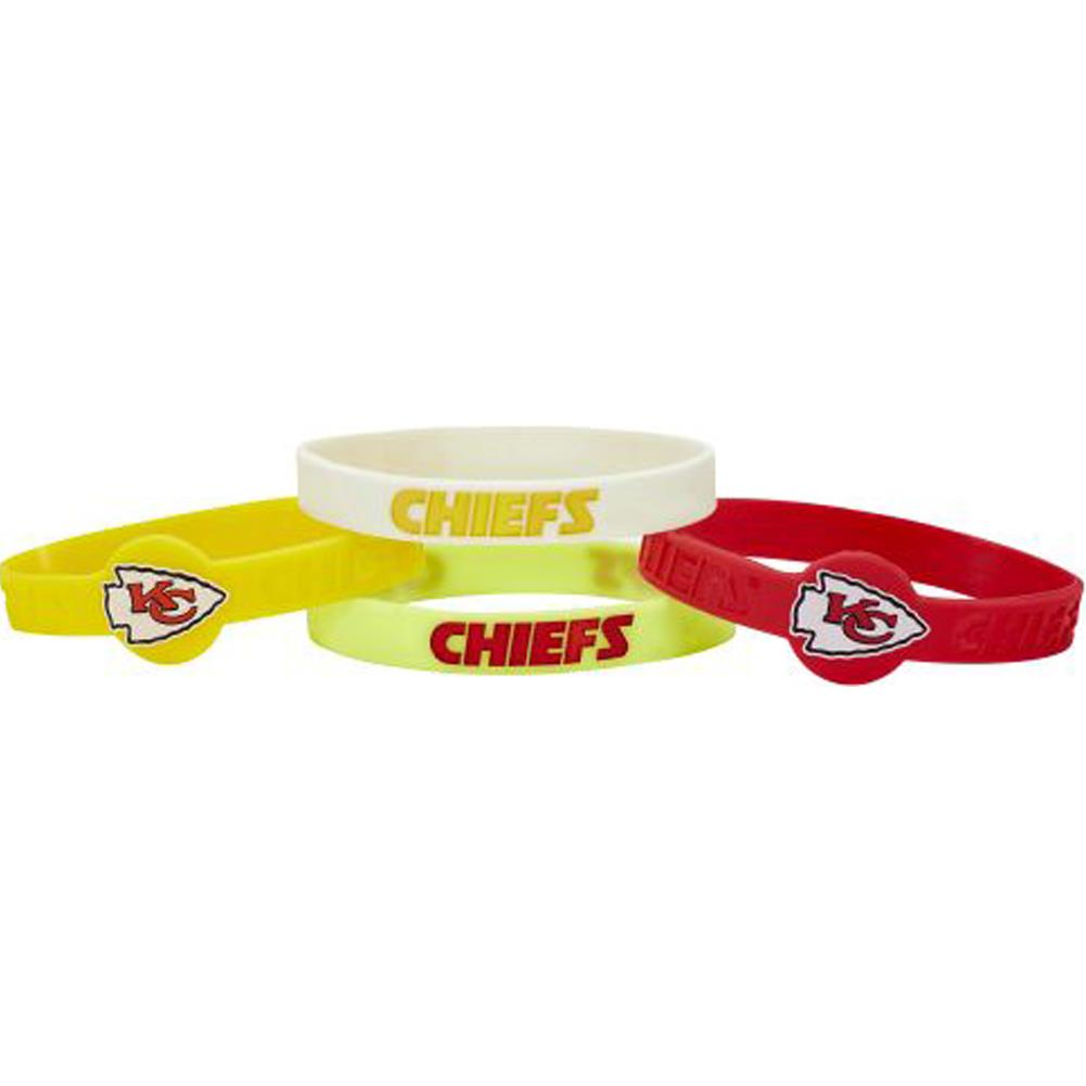 Aminco NFL Kansas City Chiefs 4-Pack Silicone Bracelets
