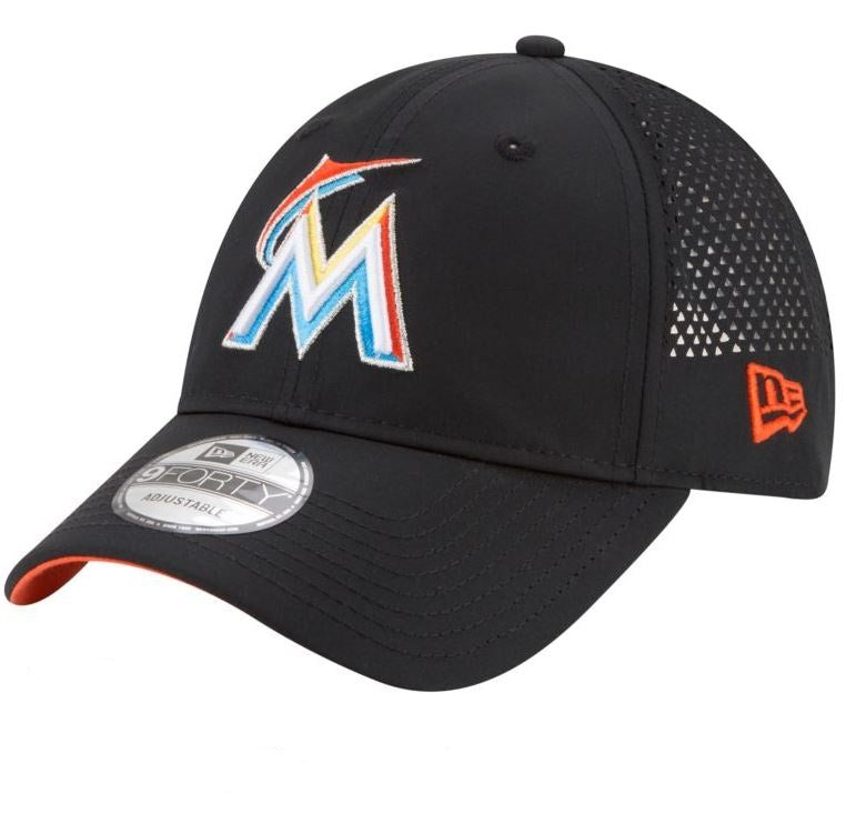 New Era MLB Men's Miami Marlins Perforated Pivot 9FORTY Adjustable Hat