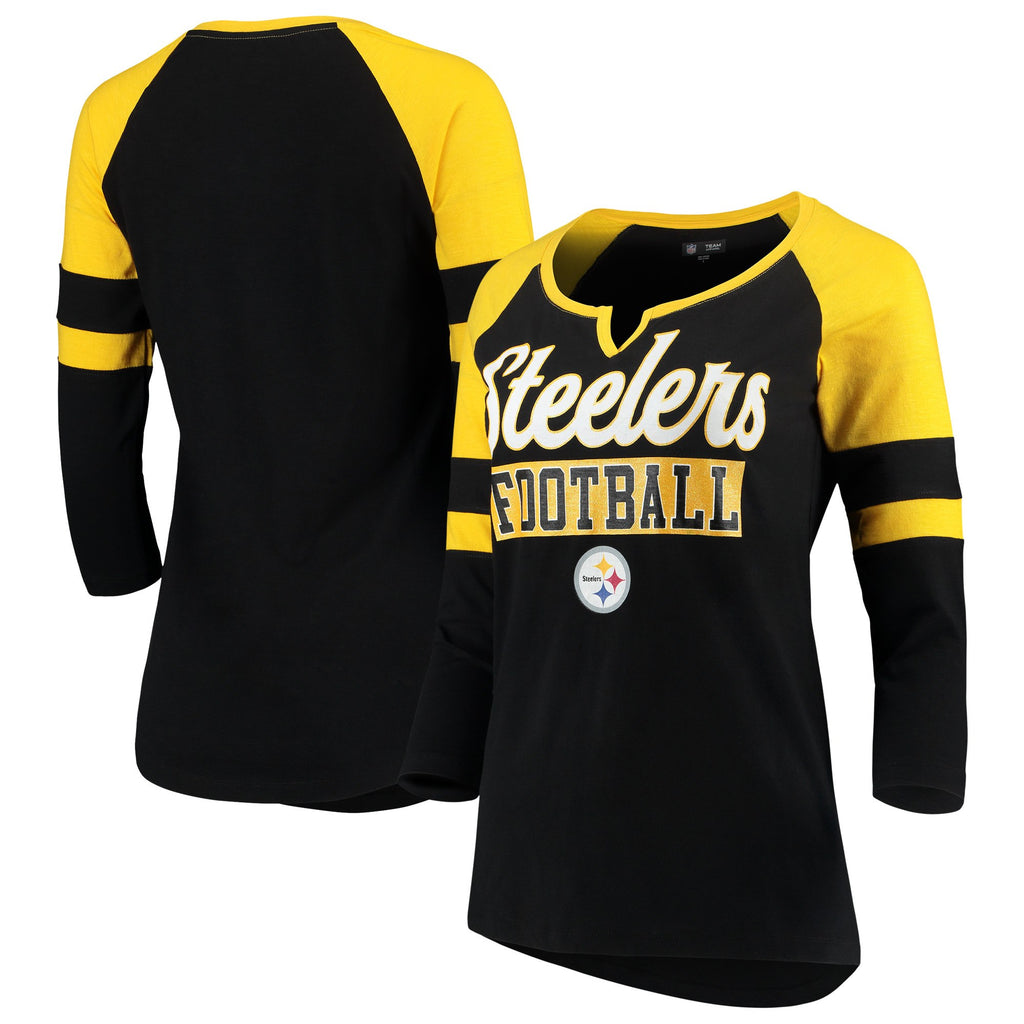 5th & Ocean By New Era NFL Women's Pittsburgh Steelers Glitter Slub Raglan V-Notch T-Shirt