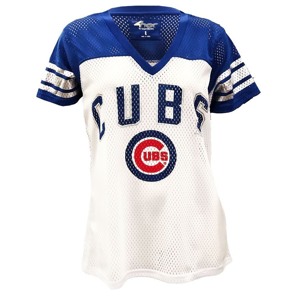 G-III MLB Women's Chicago Cubs All American V-Neck Mesh T-Shirt