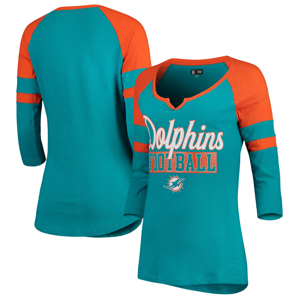 5th & Ocean By New Era NFL Women's Miami Dolphins Glitter Slub Raglan V-Notch T-Shirt
