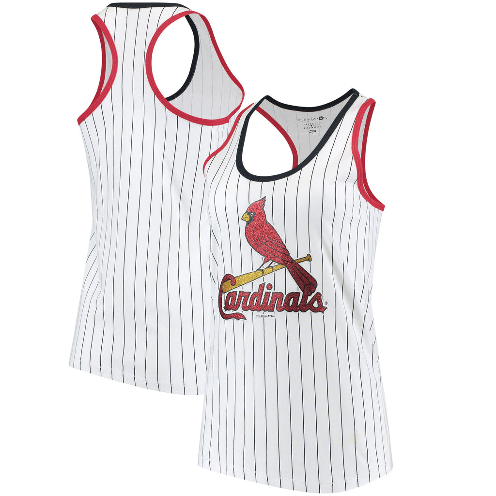 5th & Ocean MLB Women's St. Louis Cardinals Pinstripe Racerback Tank Top