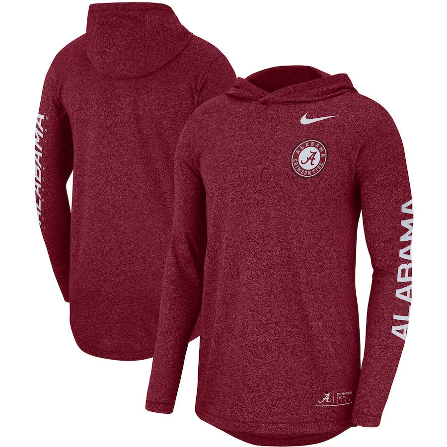 Nike NCAA Men's Alabama Crimson Tide Marled Hooded Sideline Long Sleeve T-Shirt