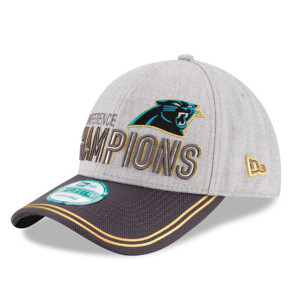 New Era NFL Men's Carolina Panthers 2015 NFC Conference Champions Trophy Collection Locker Room 9FORTY Hat