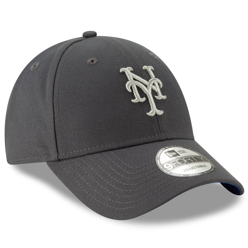 New Era MLB Men's New York Mets The League Graphite 9FORTY Adjustable Hat Graphite One Size