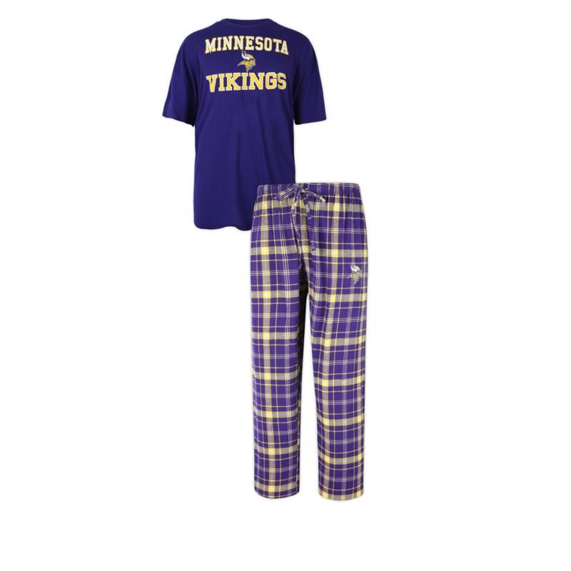 Concept Sports NFL Men's Minnesota Vikings Halftime Pant And S/S Top Set