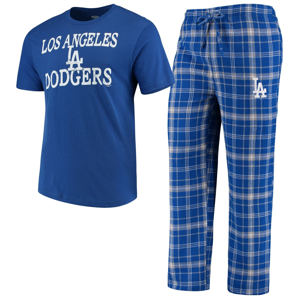 Concept Sports MLB Men's Los Angeles Dodgers Duo Shirt And Pants Pajama Sleepwear Set