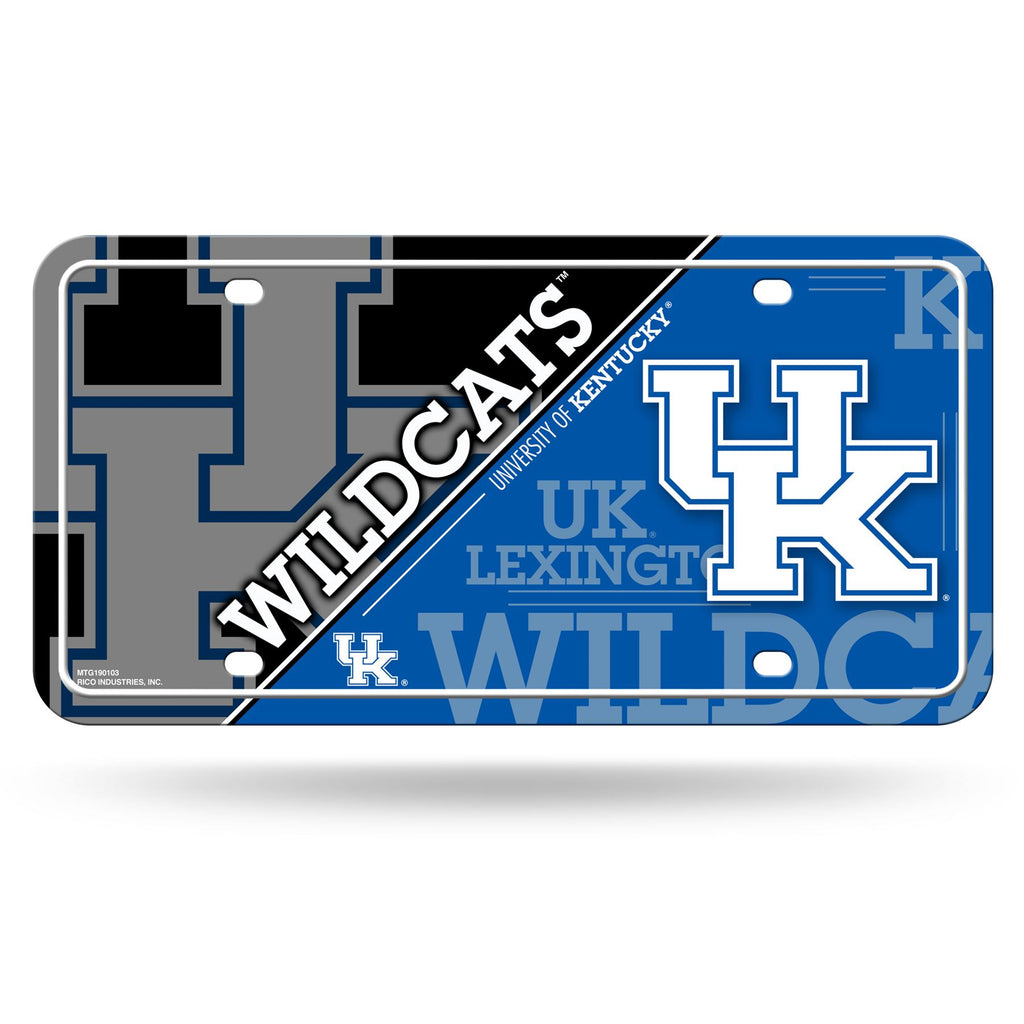 "Rico NCAA Kentucky Wildcats Metal Auto Tag Front Plate Blue 6"" X 12"""