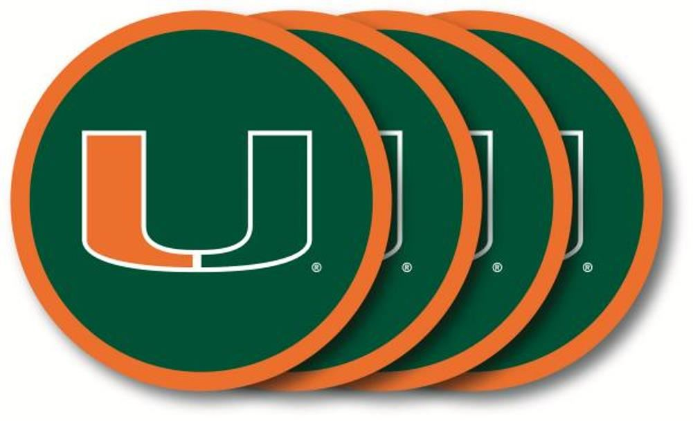 Duck House NCAA Miami Hurricanes Coaster Set 4-Pack