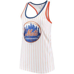 5th & Ocean MLB Women's New York Mets Pinstripe Racerback Tank Top