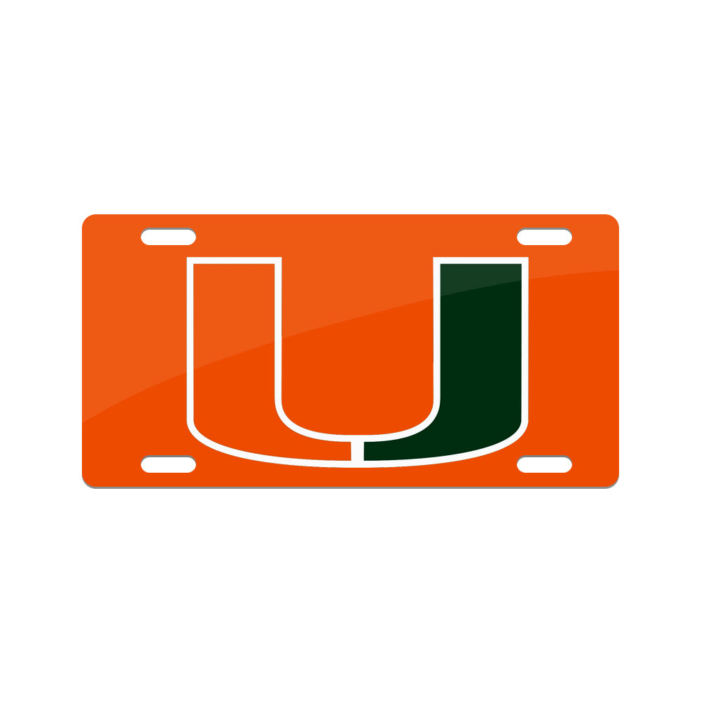 Jay Mac Sports NCAA Miami Hurricanes Metal License Plate Orange